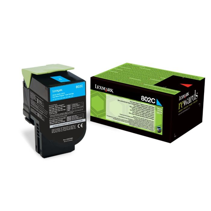 Lexmark 802HC High Capacity Return Program Cyan Toner Cartridge, 3K Page Yield