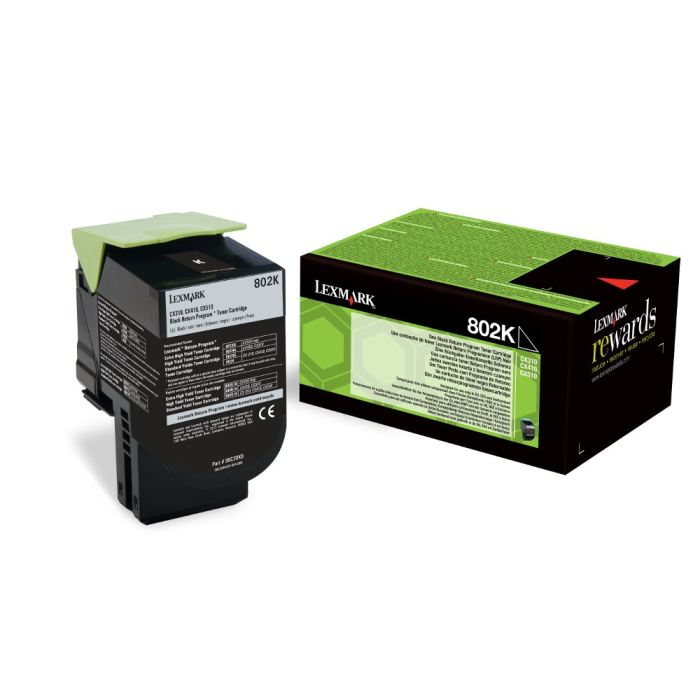 Lexmark 802HK High Capacity Return Program Black Toner Cartridge, 4K Page Yield