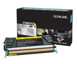 Lexmark C746A1YG Yellow (Return Program) Toner Cartridge, 7K Page Yield