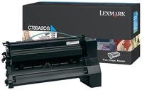 Lexmark C780A1CG Return Program Cyan Toner Cartridge, 6K Page Yield