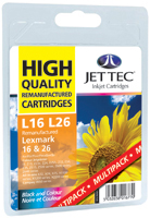 Jet Tec Replacement Black and Colour Ink Cartridges Multi Pack (Alternative to Lexmark No 16 and No 26)