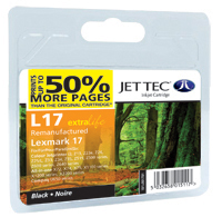 Jet Tec Replacement 50% More pages Black Ink Cartridge (Alternative to Lexmark No 17, 10NX217E)