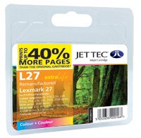 Jet Tec Replacement 40% More Pages Colour Ink Cartridge (Alternative to Lexmark No 27, 10N0227E)