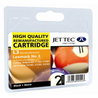 Jet Tec Replacement Black Ink Cartridge (Alternative to Lexmark No 3, 18C1530E)